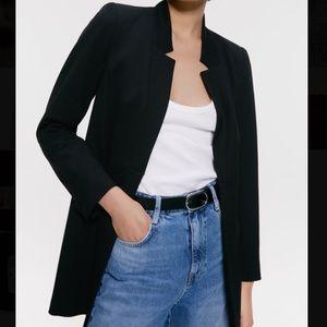 Black inverted lapel blazer jacket